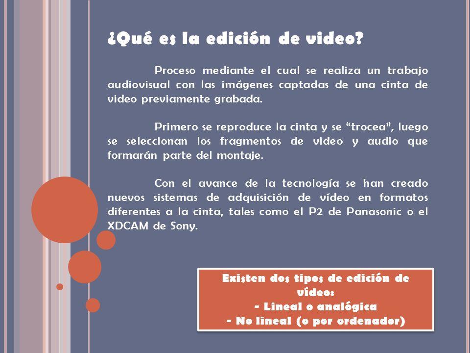 ¿Qué es la edición de video? Proceso mediante el cual se realiza un trabajo audiovisual con las imágenes captadas de una cinta de video previamente gr