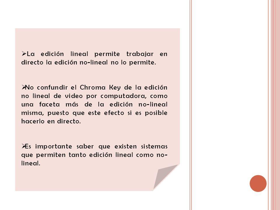 La edición lineal permite trabajar en directo la edición no-lineal no lo permite. No confundir el Chroma Key de la edición no lineal de video por comp