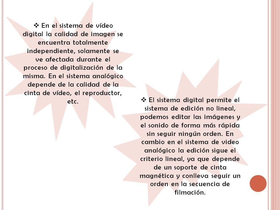 En el sistema de vídeo digital la calidad de imagen se encuentra totalmente independiente, solamente se ve afectada durante el proceso de digitalizaci