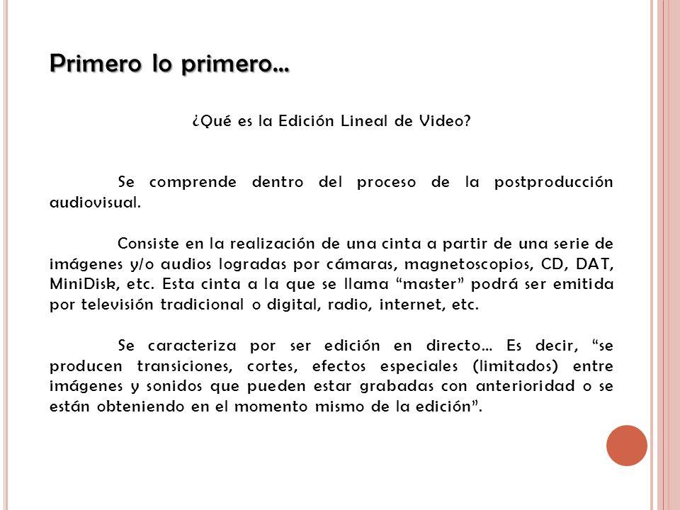 Primero lo primero… ¿Qué es la Edición Lineal de Video? Se comprende dentro del proceso de la postproducción audiovisual. Consiste en la realización d
