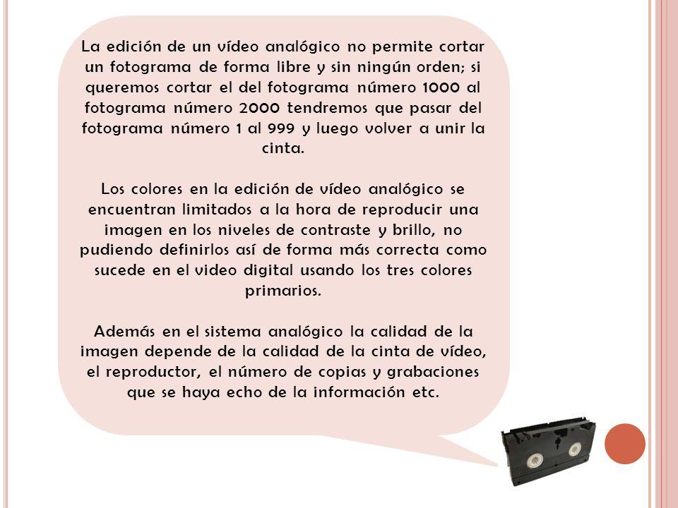 La edición de un vídeo analógico no permite cortar un fotograma de forma libre y sin ningún orden; si queremos cortar el del fotograma número 1000 al