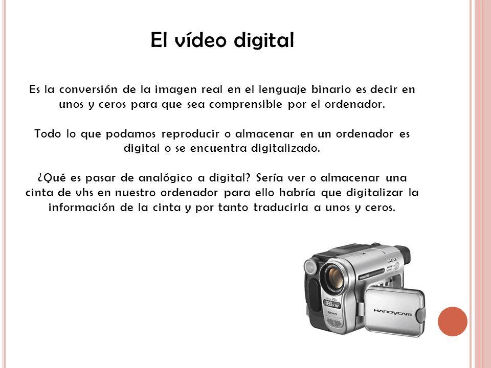 El vídeo digital Es la conversión de la imagen real en el lenguaje binario es decir en unos y ceros para que sea comprensible por el ordenador. Todo l