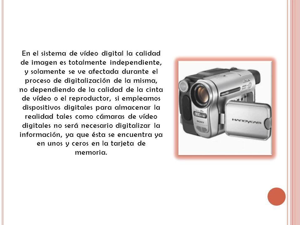 En el sistema de vídeo digital la calidad de imagen es totalmente independiente, y solamente se ve afectada durante el proceso de digitalización de la