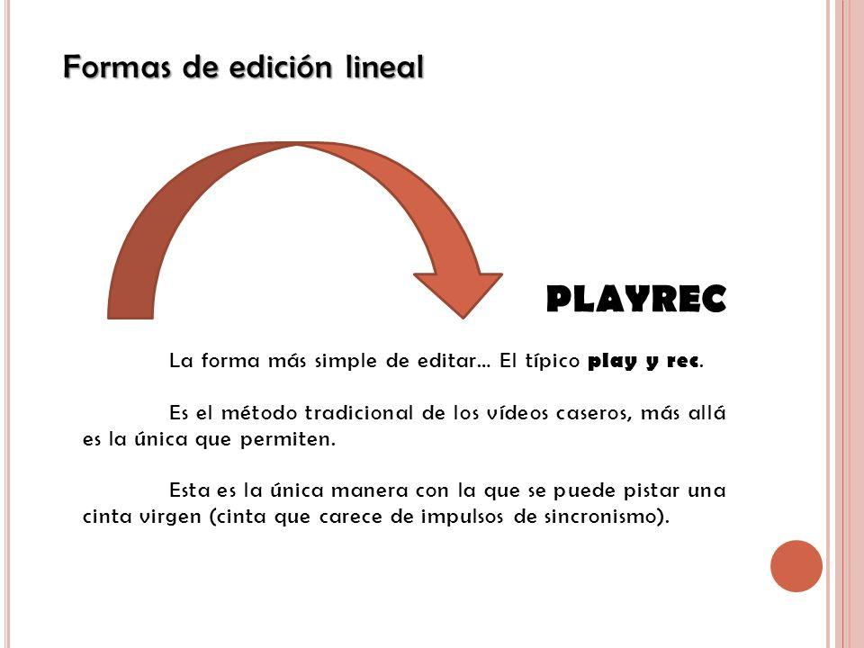 Formas de edición lineal PLAYREC La forma más simple de editar… El típico play y rec. Es el método tradicional de los vídeos caseros, más allá es la ú