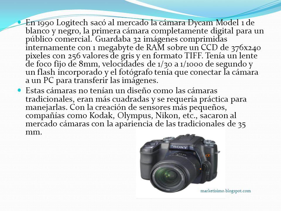 En 1990 Logitech sacó al mercado la cámara Dycam Model 1 de blanco y negro, la primera cámara completamente digital para un público comercial. Guardab