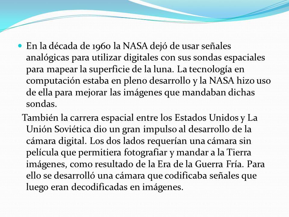 En la década de 1960 la NASA dejó de usar señales analógicas para utilizar digitales con sus sondas espaciales para mapear la superficie de la luna. L