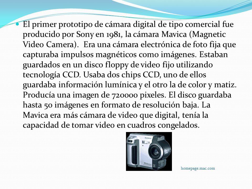 El primer prototipo de cámara digital de tipo comercial fue producido por Sony en 1981, la cámara Mavica (Magnetic Video Camera). Era una cámara elect