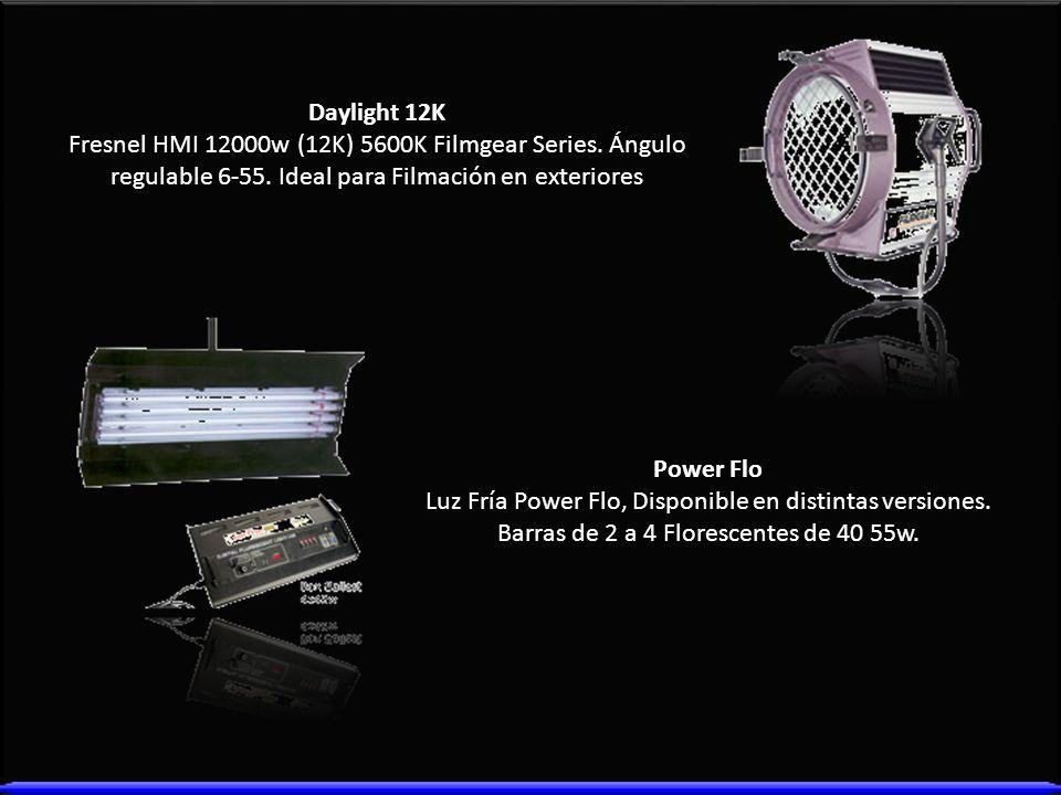 Daylight 12K Fresnel HMI 12000w (12K) 5600K Filmgear Series. Ángulo regulable 6-55. Ideal para Filmación en exteriores Power Flo Luz Fría Power Flo, D
