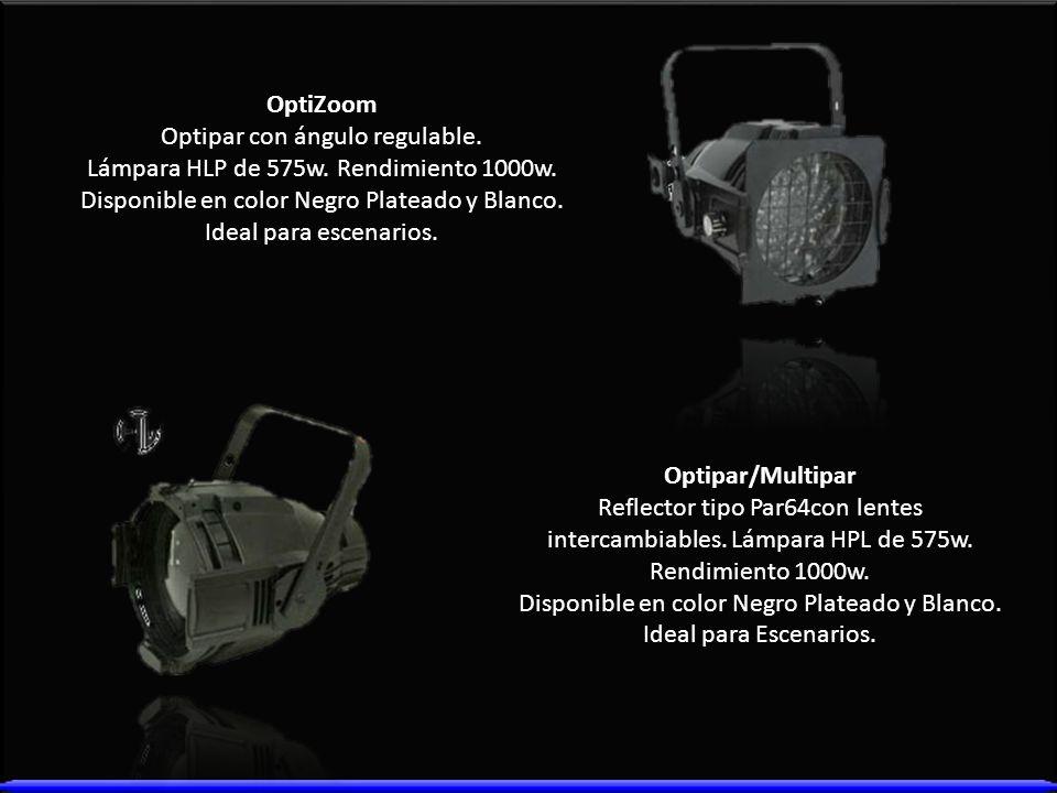 OptiZoom Optipar con ángulo regulable. Lámpara HLP de 575w. Rendimiento 1000w. Disponible en color Negro Plateado y Blanco. Ideal para escenarios. Opt