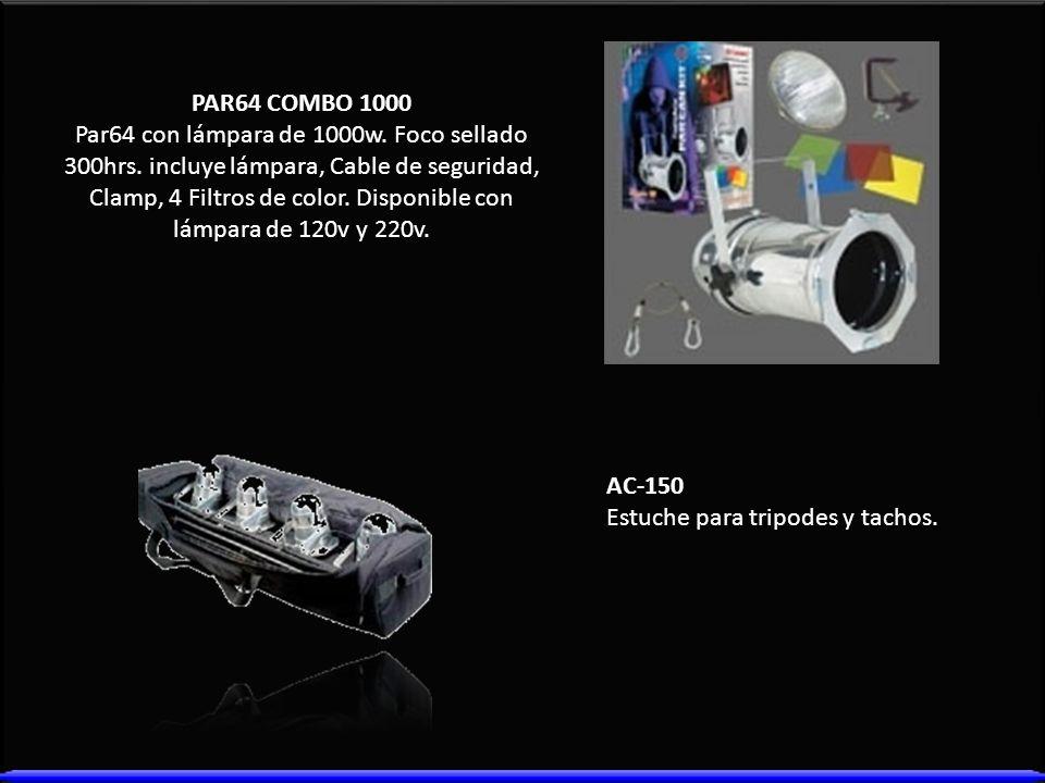 PAR64 COMBO 1000 Par64 con lámpara de 1000w. Foco sellado 300hrs. incluye lámpara, Cable de seguridad, Clamp, 4 Filtros de color. Disponible con lámpa