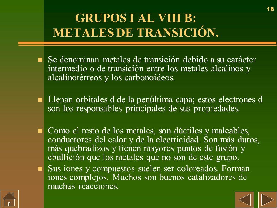 18 GRUPOS I AL VIII B: METALES DE TRANSICIÓN. n Se denominan metales de transición debido a su carácter intermedio o de transición entre los metales a