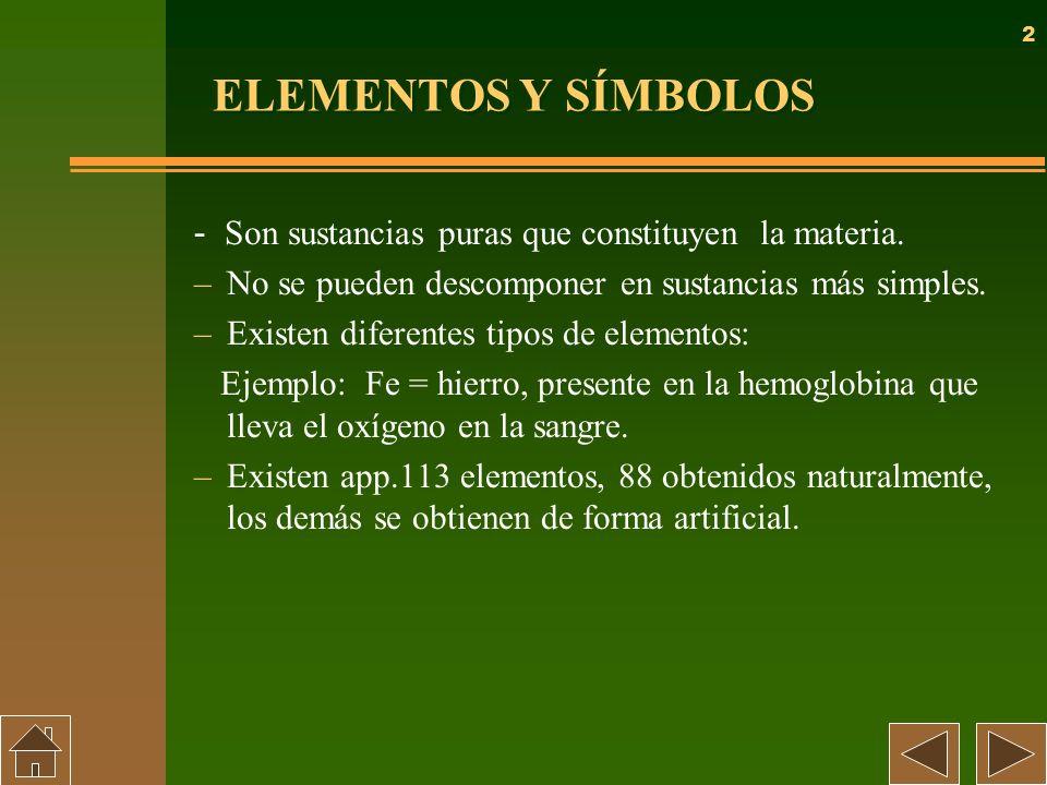 2 ELEMENTOS Y SÍMBOLOS - Son sustancias puras que constituyen la materia. –No se pueden descomponer en sustancias más simples. –Existen diferentes tip