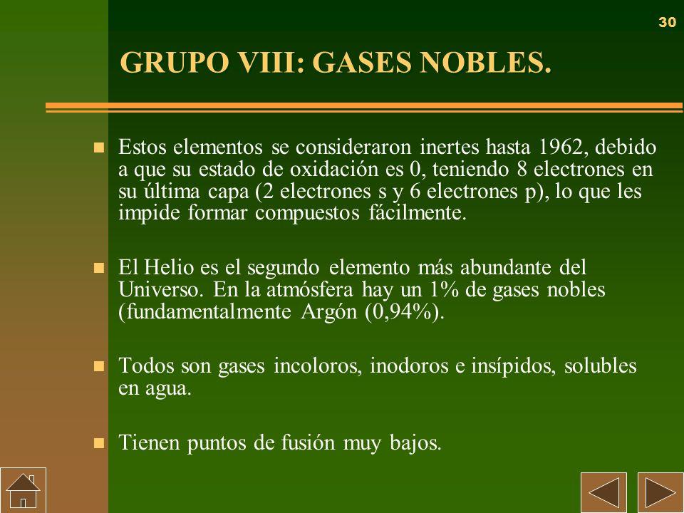 30 GRUPO VIII: GASES NOBLES. n Estos elementos se consideraron inertes hasta 1962, debido a que su estado de oxidación es 0, teniendo 8 electrones en
