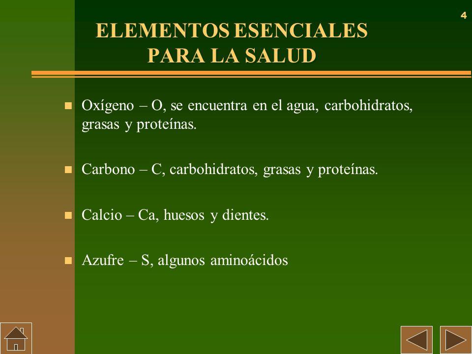 4 ELEMENTOS ESENCIALES PARA LA SALUD n Oxígeno – O, se encuentra en el agua, carbohidratos, grasas y proteínas. n Carbono – C, carbohidratos, grasas y