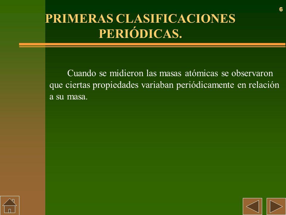6 PRIMERAS CLASIFICACIONES PERIÓDICAS. Cuando se midieron las masas atómicas se observaron que ciertas propiedades variaban periódicamente en relación