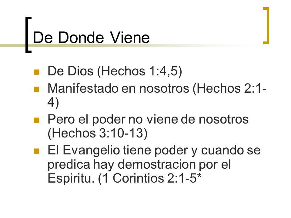 De Donde Viene De Dios (Hechos 1:4,5) Manifestado en nosotros (Hechos 2:1- 4) Pero el poder no viene de nosotros (Hechos 3:10-13) El Evangelio tiene p