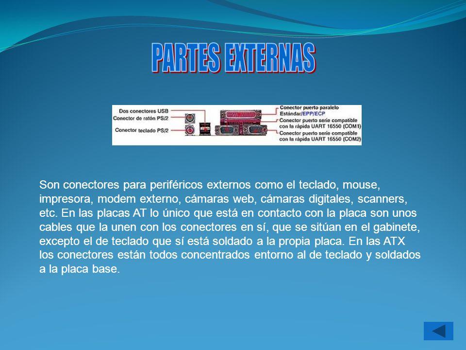 Son conectores para periféricos externos como el teclado, mouse, impresora, modem externo, cámaras web, cámaras digitales, scanners, etc. En las placa