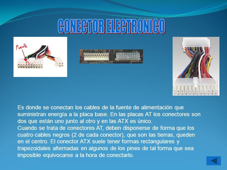 Es donde se conectan los cables de la fuente de alimentación que suministran energía a la placa base. En las placas AT los conectores son dos que está