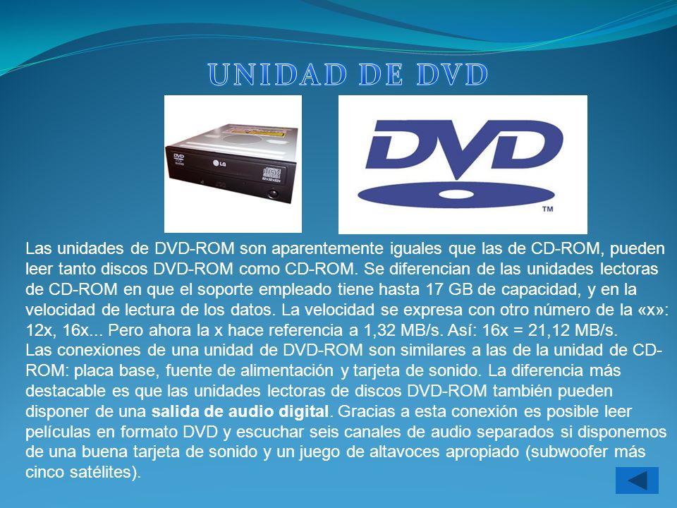 Las unidades de DVD-ROM son aparentemente iguales que las de CD-ROM, pueden leer tanto discos DVD-ROM como CD-ROM. Se diferencian de las unidades lect