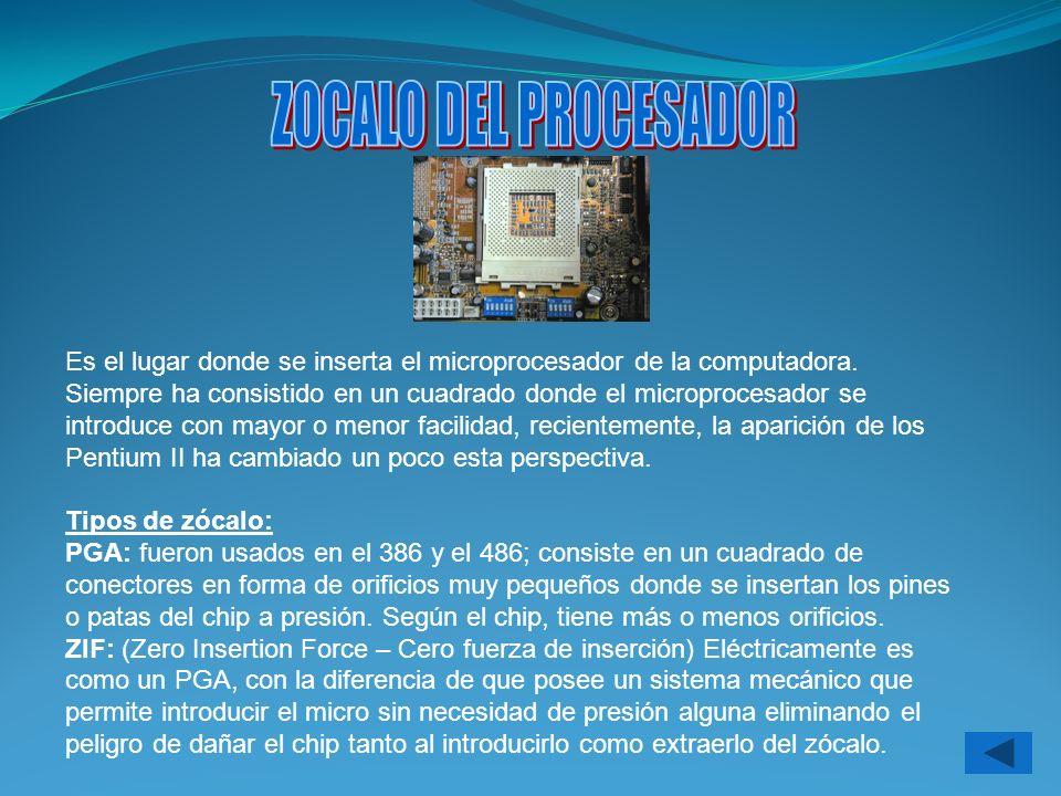 Son los conectores donde se encuentra montada o insertada la memoria principal de la PC, la RAM.
