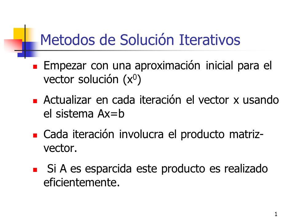 2 Procedimiento de solución Iterativa Escribir el sistema Ax=b en una forma equivalente x=Tx+c Empezando con x 0, genere una secuencia de aproximaciones {x k } iterativamente por x k+1 =Tx k +c Representación de T y c dependen del tipo de método usado.