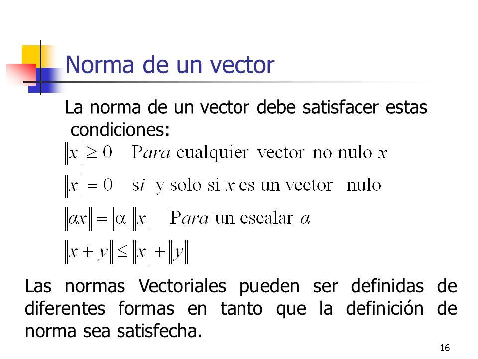 16 Norma de un vector La norma de un vector debe satisfacer estas condiciones: Las normas Vectoriales pueden ser definidas de diferentes formas en tan