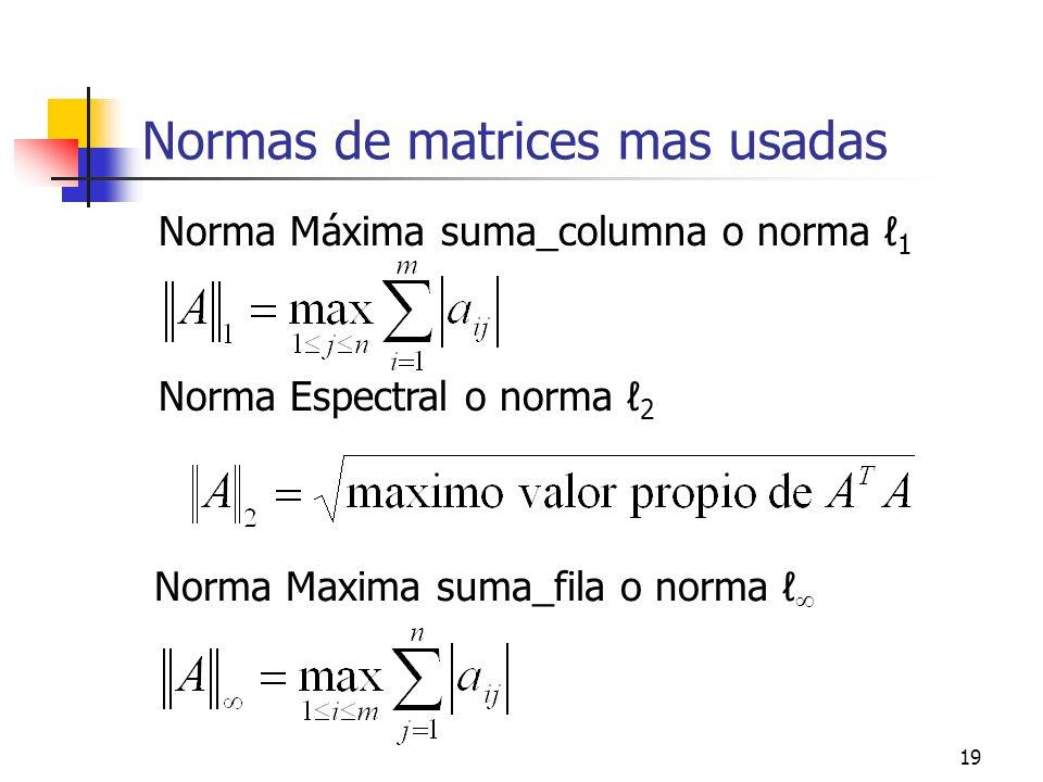 19 Normas de matrices mas usadas Norma Máxima suma_columna o norma 1 Norma Espectral o norma 2 Norma Maxima suma_fila o norma