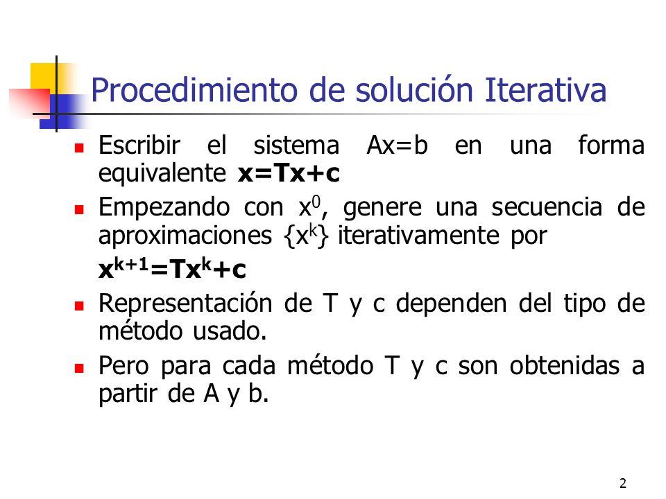 2 Procedimiento de solución Iterativa Escribir el sistema Ax=b en una forma equivalente x=Tx+c Empezando con x 0, genere una secuencia de aproximacion