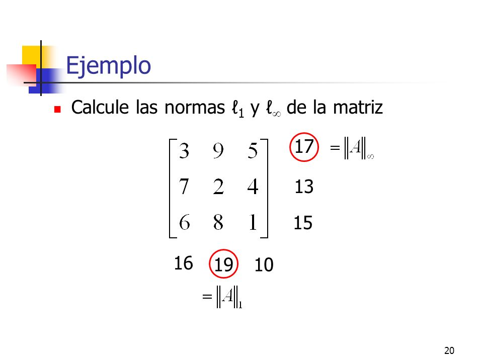 20 Ejemplo Calcule las normas 1 y de la matriz 17 13 15 16 1910