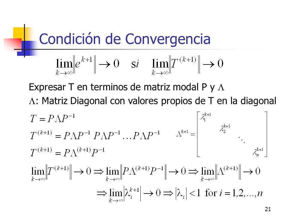 21 Condición de Convergencia Expresar T en terminos de matriz modal P y : Matriz Diagonal con valores propios de T en la diagonal