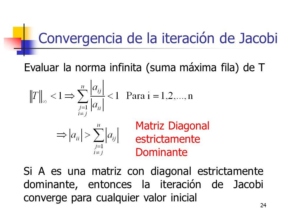 24 Convergencia de la iteración de Jacobi Evaluar la norma infinita (suma máxima fila) de T Matriz Diagonal estrictamente Dominante Si A es una matriz