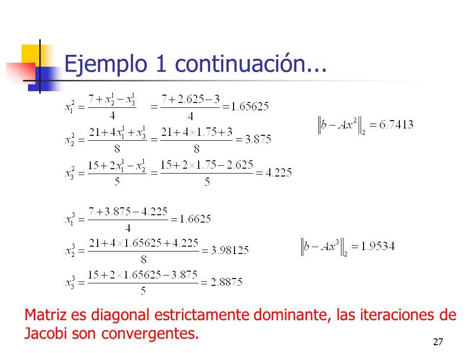 27 Ejemplo 1 continuación... Matriz es diagonal estrictamente dominante, las iteraciones de Jacobi son convergentes.