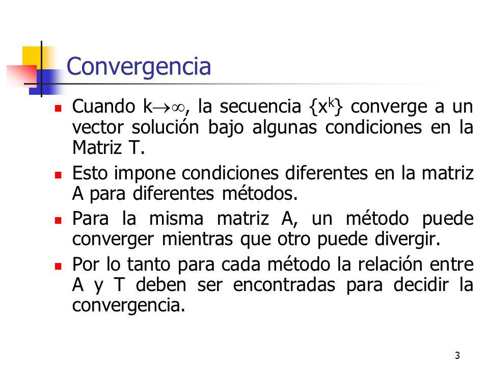 3 Convergencia Cuando k, la secuencia {x k } converge a un vector solución bajo algunas condiciones en la Matriz T. Esto impone condiciones diferentes