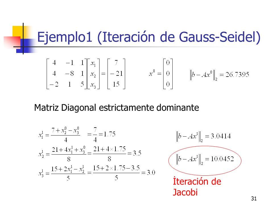 31 Ejemplo1 (Iteración de Gauss-Seidel) Matriz Diagonal estrictamente dominante İteración de Jacobi