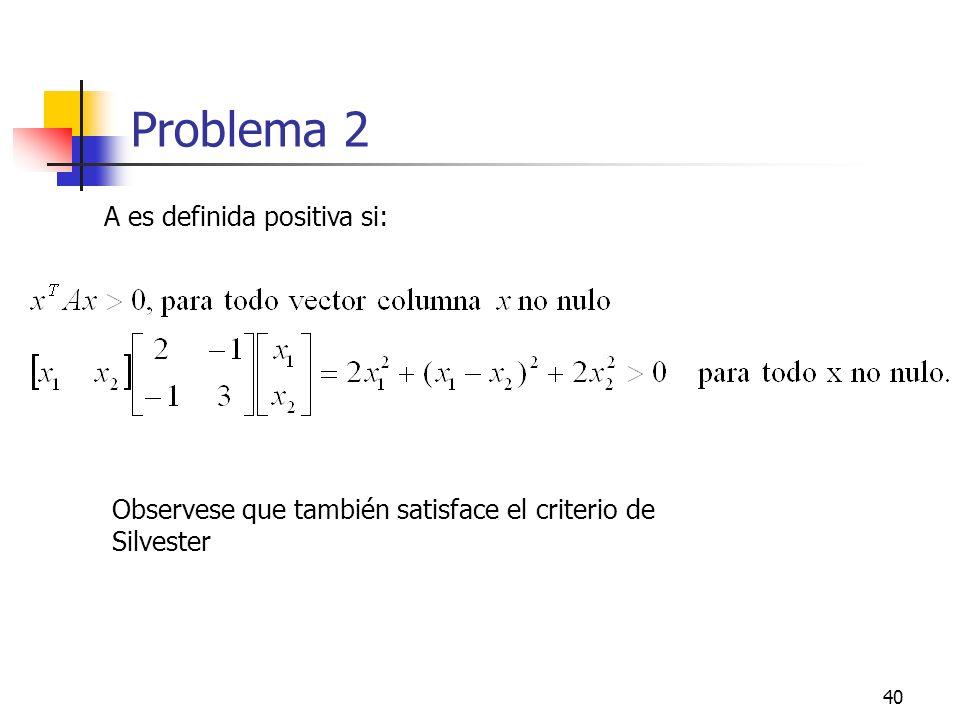 40 Problema 2 A es definida positiva si: Observese que también satisface el criterio de Silvester