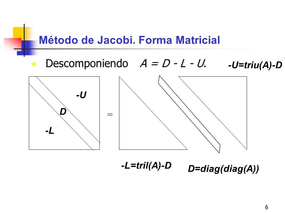 7 x k+1 =Tx k +c - iteración por el método de Jacobi Se puede escribir como A=D-L-U (No es una factorización) x k+1 =D -1 (L+U)x k +D -1 b T=D -1 (L+U) c=D -1 b Ax=b (D-L-U)x=b Dx k+1 = (L+U)x k +b Dx k+1