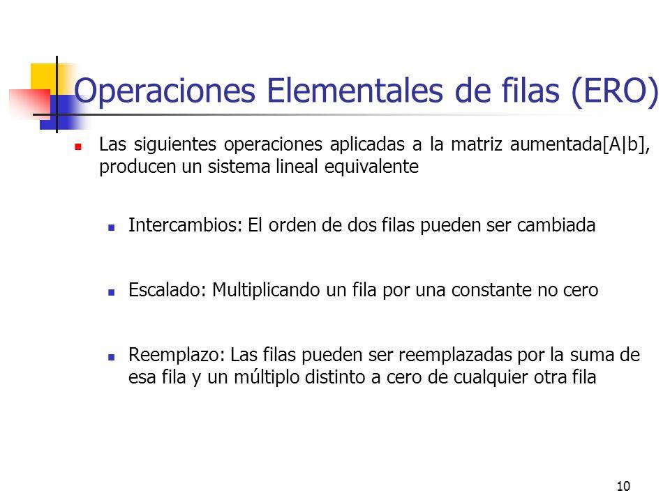 10 Operaciones Elementales de filas (ERO) Las siguientes operaciones aplicadas a la matriz aumentada[A|b], producen un sistema lineal equivalente Inte