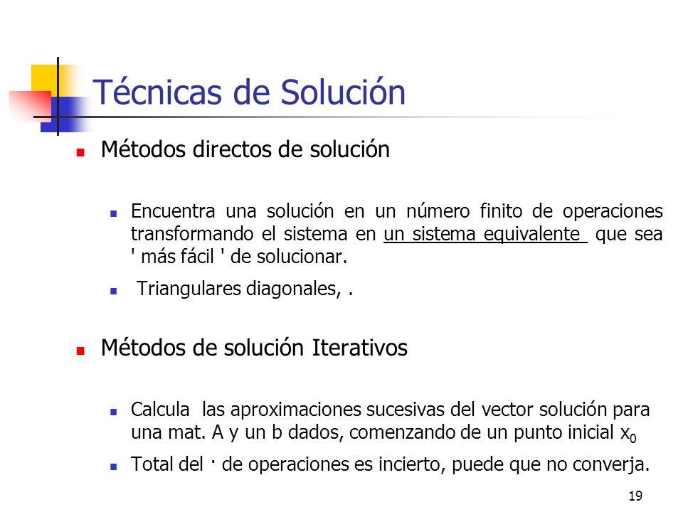 19 Técnicas de Solución Métodos directos de solución Encuentra una solución en un número finito de operaciones transformando el sistema en un sistema