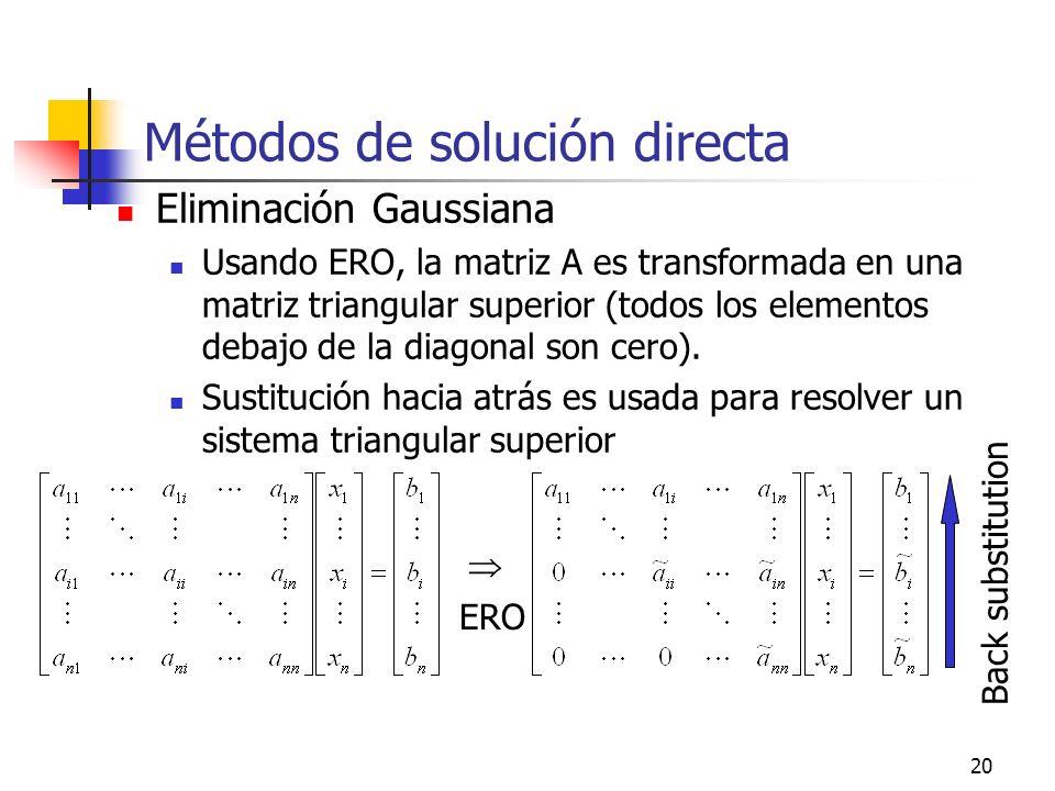20 Métodos de solución directa Eliminación Gaussiana Usando ERO, la matriz A es transformada en una matriz triangular superior (todos los elementos de