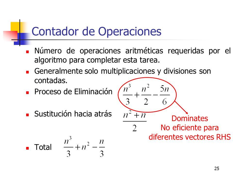 25 Contador de Operaciones Número de operaciones aritméticas requeridas por el algoritmo para completar esta tarea. Generalmente solo multiplicaciones