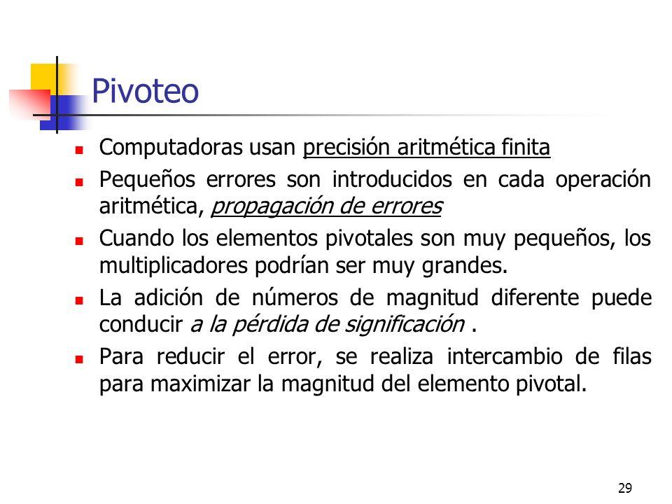 29 Pivoteo Computadoras usan precisión aritmética finita Pequeños errores son introducidos en cada operación aritmética, propagación de errores Cuando