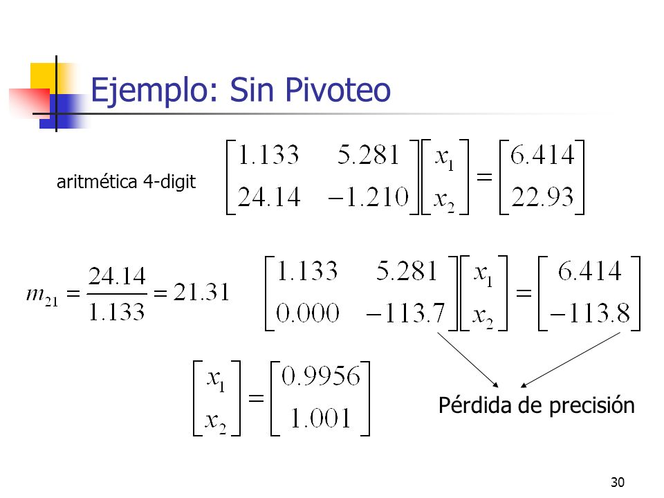 30 Ejemplo: Sin Pivoteo aritmética 4-digit Pérdida de precisión
