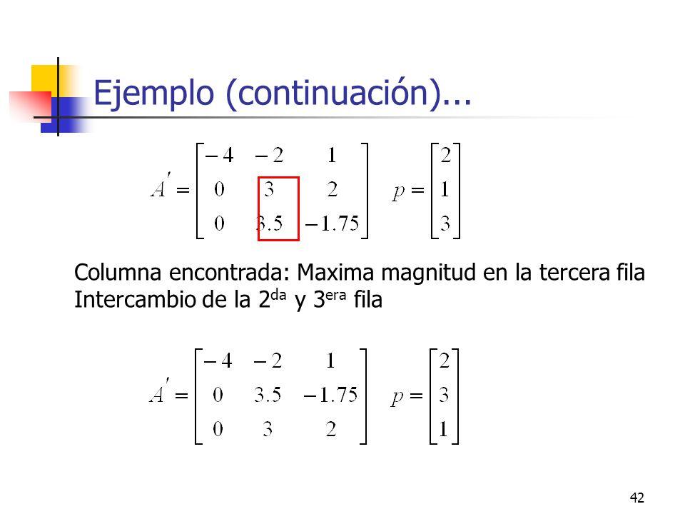 42 Ejemplo (continuación)... Columna encontrada: Maxima magnitud en la tercera fila Intercambio de la 2 da y 3 era fila