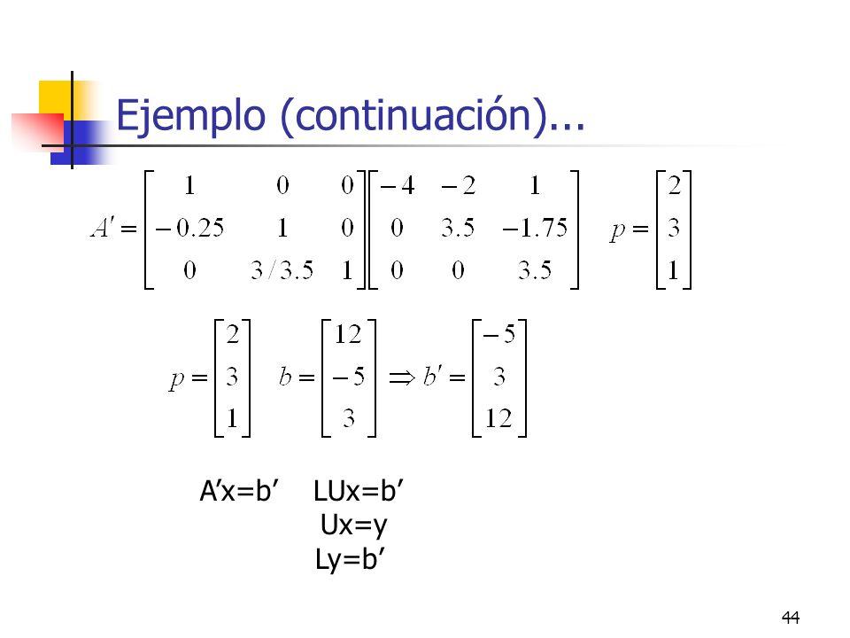 44 Ejemplo (continuación)... Ax=b LUx=b Ux=y Ly=b