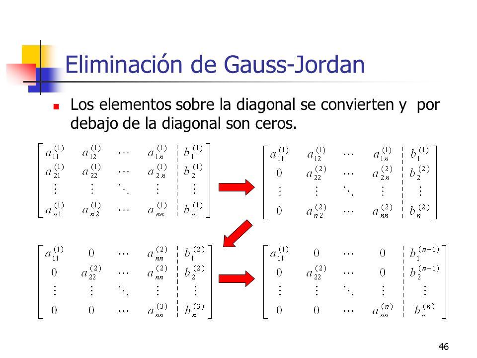 46 Eliminación de Gauss-Jordan Los elementos sobre la diagonal se convierten y por debajo de la diagonal son ceros.