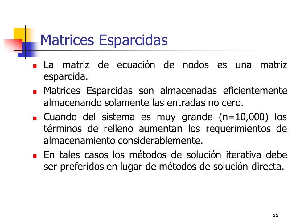 55 Matrices Esparcidas La matriz de ecuación de nodos es una matriz esparcida. Matrices Esparcidas son almacenadas eficientemente almacenando solament