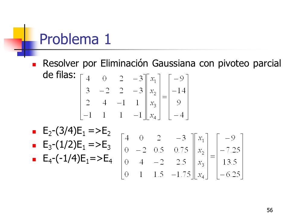 56 Problema 1 Resolver por Eliminación Gaussiana con pivoteo parcial de filas: E 2 -(3/4)E 1 =>E 2 E 3 -(1/2)E 1 =>E 3 E 4 -(-1/4)E 1 =>E 4