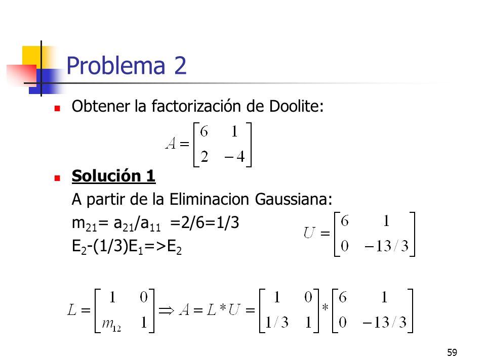 59 Problema 2 Obtener la factorización de Doolite: Solución 1 A partir de la Eliminacion Gaussiana: m 21 = a 21 /a 11 =2/6=1/3 E 2 -(1/3)E 1 =>E 2