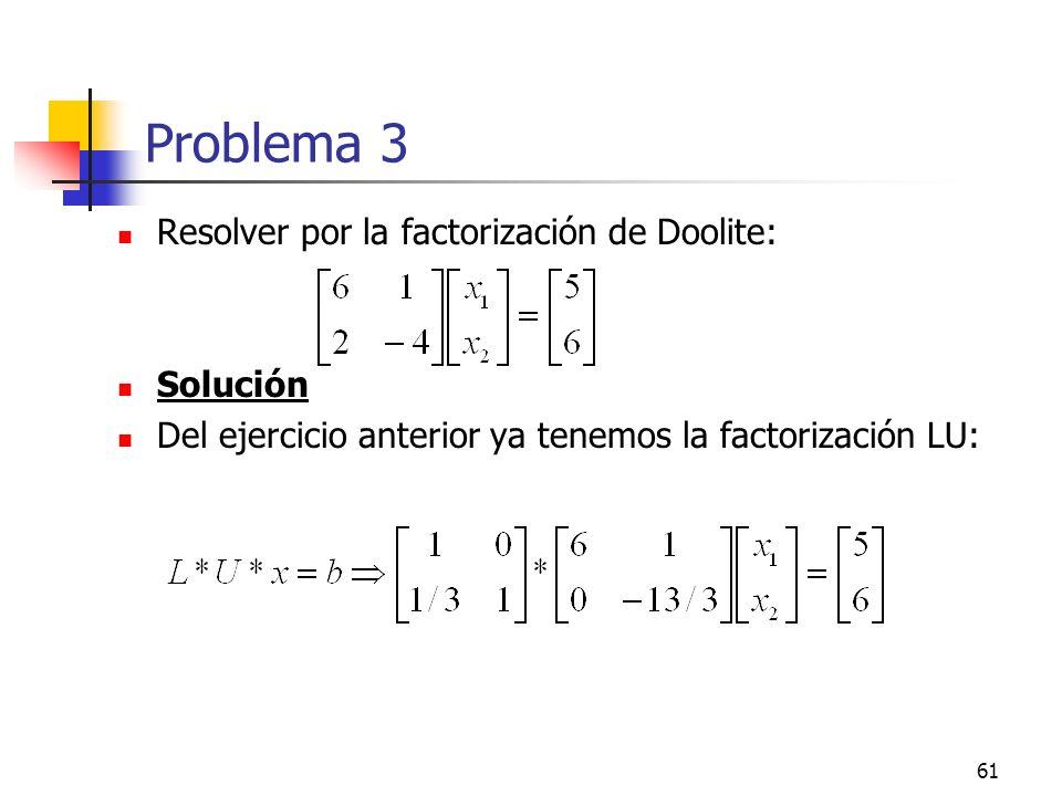 61 Problema 3 Resolver por la factorización de Doolite: Solución Del ejercicio anterior ya tenemos la factorización LU: