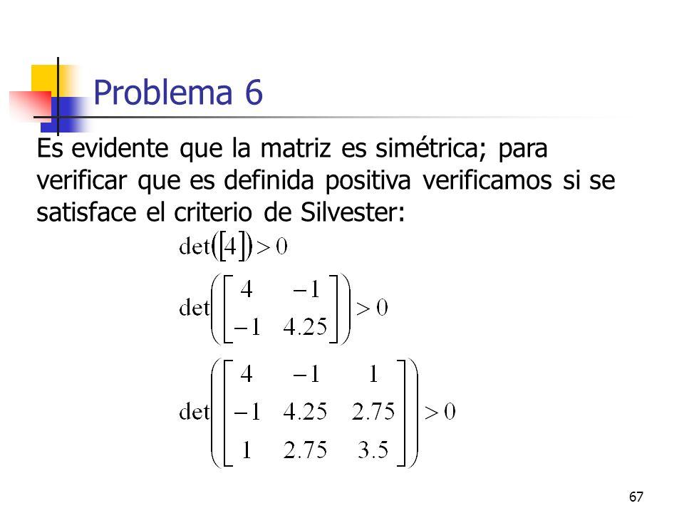 67 Problema 6 Es evidente que la matriz es simétrica; para verificar que es definida positiva verificamos si se satisface el criterio de Silvester: